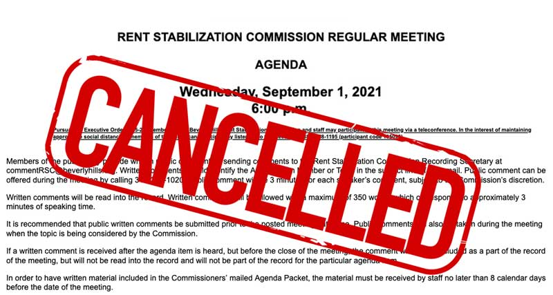 RSO commission meeting cancelled