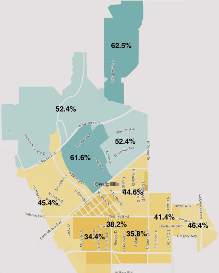 Recall 2012 map: Beverly Hills precints compared